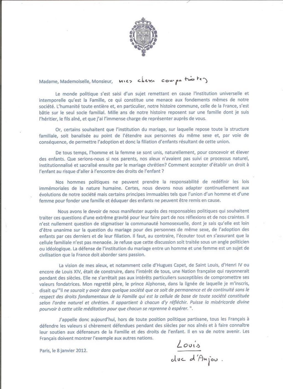 Déclaration de Mgr le Duc d Anjou sur la défense du mariage naturel